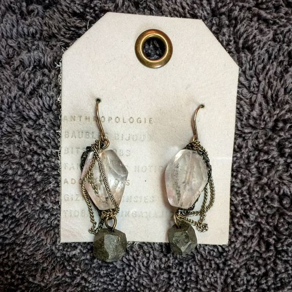 Anthropologie Jewelry - Beautiful Statement Stone Chain Anthro Earrings
